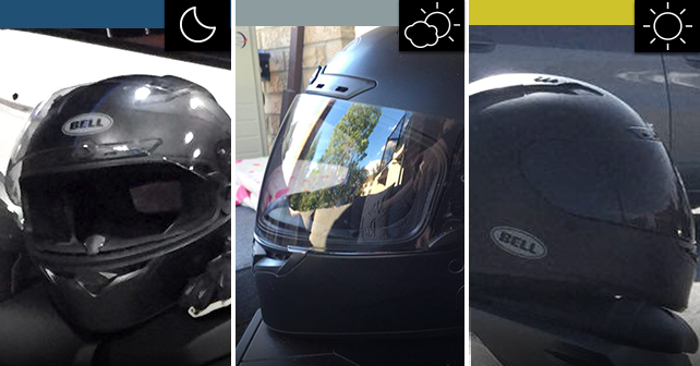 helmet with photochromic visor during the night (clear visor), during the day when it's cloudier (light grey visor) and during the day when it's full sunlight (dark grey visor)